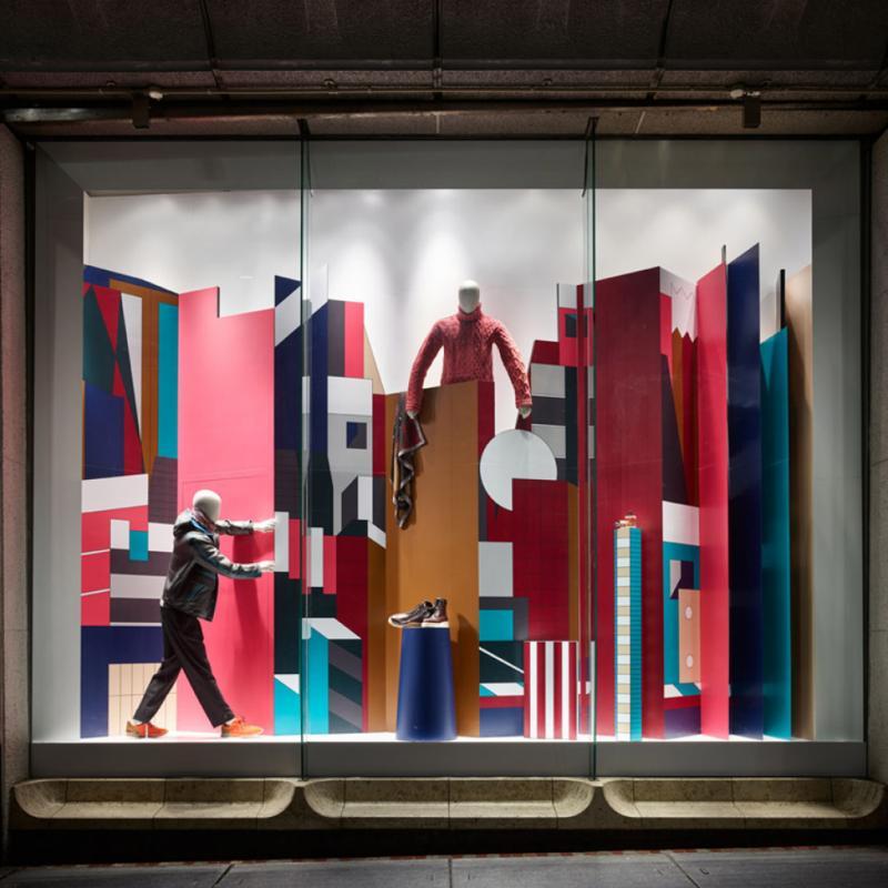 Pour Hermès, Nigel Peake a également réalisé des scénographies de vitrines comme en témoigne celle-ci, au Japon, en 2016.