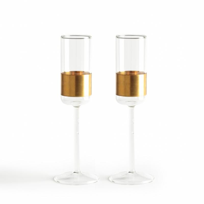 Flute en verre et rond de cuivre, La redoute, 34.99€ la paire