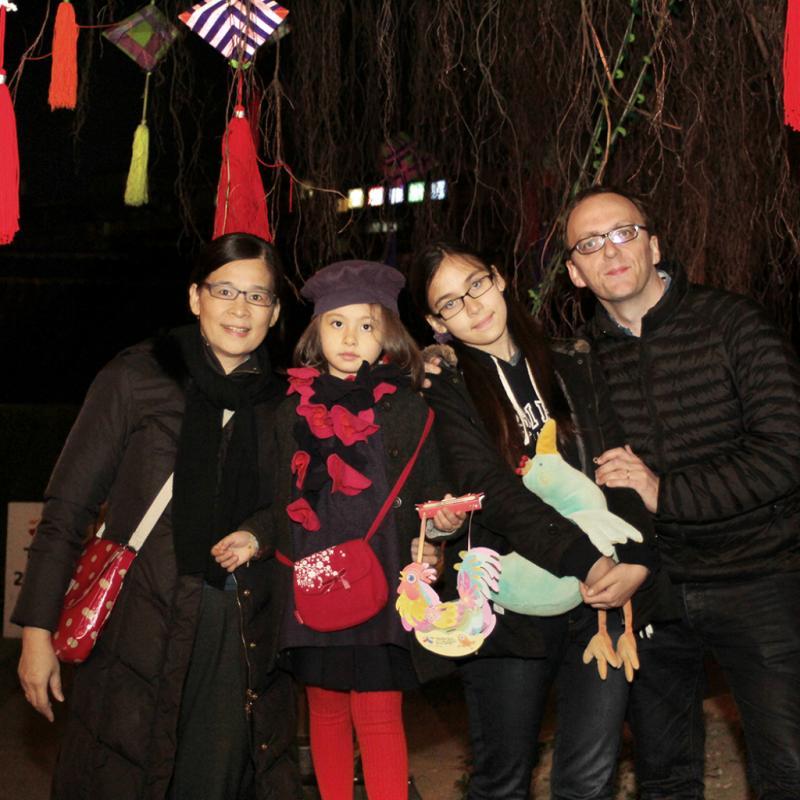 Beitou. Le Belge Dimitri Bruyas et sa famille taiwanaise.