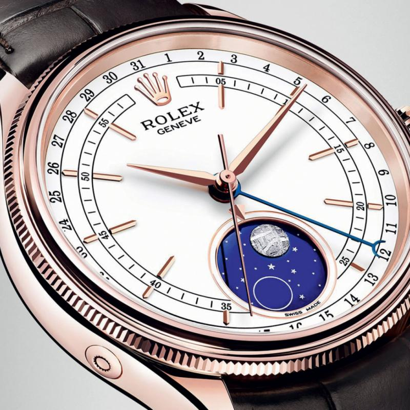 Montre Rolex Cellini Moonphase – Perpétual, mécanique, à remontage automatique – boîtier or Everose 18ct – diamètre 39 mm - bracelet cuir – certifié chronomètre par le COSC plus certification Rolex en montre.