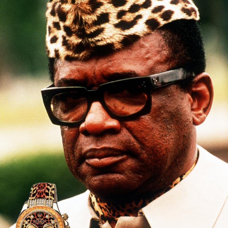 Alors oui, quand on a de l'argent, on peut tout se permettre, même d'avoir mauvais goût. Avec ses pierres précieuses en taille baguette et ses motifs léopard, cette montre a vite pris le nom de l'homme d'État Joseph-Désiré Mobutu en raison de sa toque léopard représentative et des extravagances de son mode de vie.