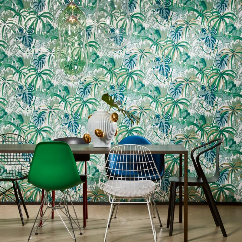 """Greeney, papier peint de la collection Jungle Jive, 4variations de couleur, 79€ par rouleau de 100 x 52cm. Hookedonwalls,<br /><a href=""""http://www.hookedonwalls.com"""">www.hookedonwalls.com</a>"""