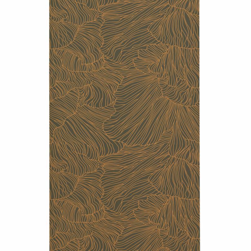 """Coral papier peint en gris foncé et or, 81€/53 x 1000cm. Ferm Living, <a href=""""http://www.fermliving.com"""">www.fermliving.com</a>"""