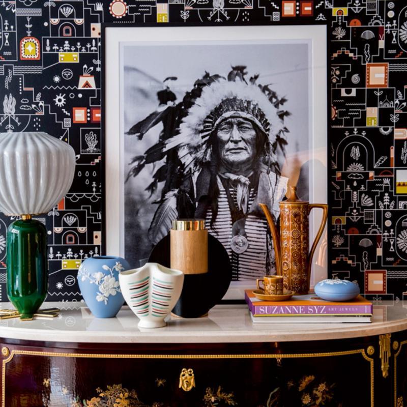 """Atchak, papier peint de la collection Grand Canyon (137cm), 160€ par mètre. Pierre Frey, <a href=""""http://www.pierrefrey.com"""">www.pierrefrey.com</a>"""