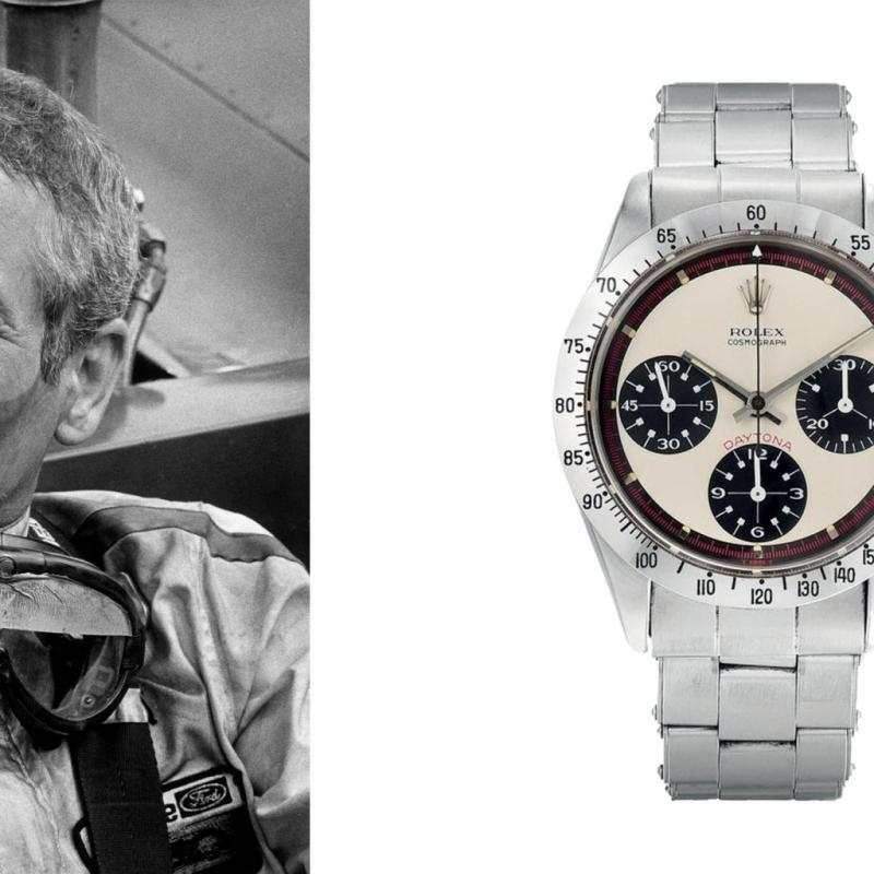 """Sortie en 1963, cette Daytona 6239 doit son nom au célèbre circuit de courses éponyme, et son sobriquet à celui qui la portait régulièrement, l'acteur et pilote Paul Newman. Pourtant, avec son cadran dit """"exotique"""" de couleur noir, blanc et rouge ; sa lunette à échelle tachymétrique, son chronographe, ce garde-temps qui avait tout pour plaire et satisfaire les pilotes de courses automobiles dans les années '60, n'eut pas directement le succès escompté. Il faudra attendre la rencontre de ces deux légendes pour que le modèle marque durablement les esprits. Au point tel que celle qui appartenait à l'acteur fut vendue pour la somme astronomique de 17 752 500 $ le 26 octobre 2017 à New York, au cours d'une vente aux enchères chez PHILLIPS. C'est donc désormais la montre de collection la plus chère qu'ait connue l'histoire de la marque !"""