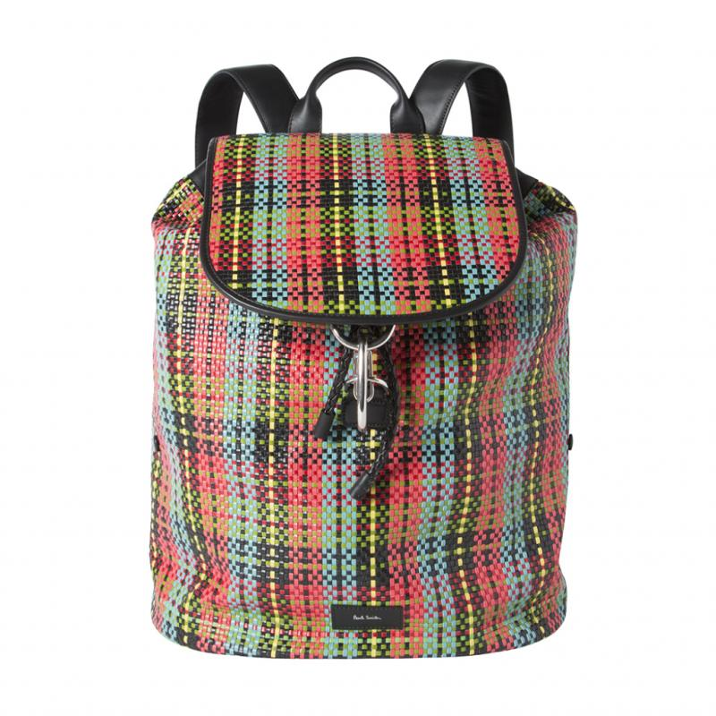 Sac à dos en tartan orange Paul Smith, prix sur demande.