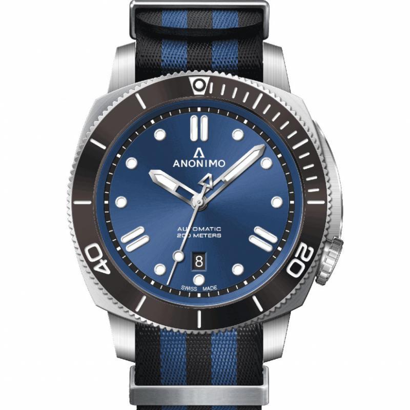 Montre Anonimo Nautilo Acier – mouvement automatique – diamètre 43 mm – étanche 200 m – bracelet NATO.