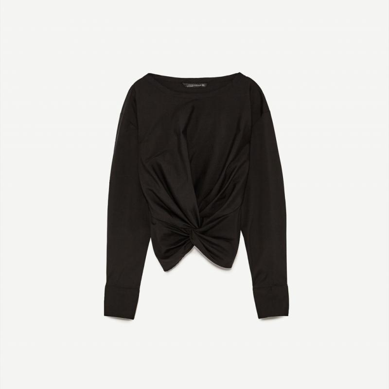 Body noir à manches longues tulle et tissu, Zara, 25,95€
