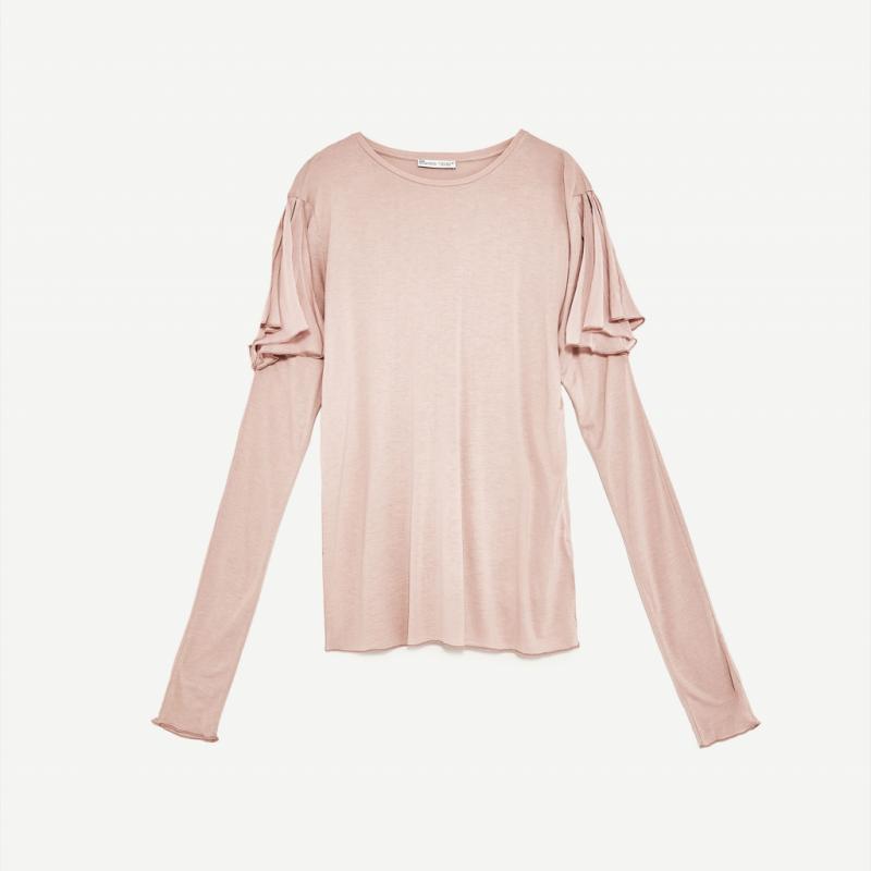 T-shirt à manches longues épaules ajourées, Zara, 15,95€